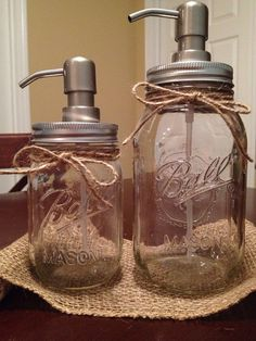 Shabby Chic Mason Jar Soap Dispenser Set by LucyLocketDesigns i don't like the twine on it but i like this idea a lot