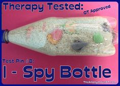 How to use an I-Spy Bottle to develop visual perceptual skills in occupational therapy.   From TheAnonymousOT.com