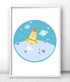 Outer space kids decor, rocket ship boys room wall art