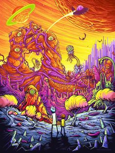 Rick and Morty Funny Cartoon Trippy Art Silk Poster 013 Rick And Morty Poster, Rick Y Morty, Trippy Rick And Morty, Dan Mumford, Abenteuerzeit Mit Finn Und Jake, Ricky And Morty, Psy Art, Psychedelic Art, Iphone Wallpaper