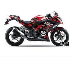 Decal Sticker Modifikasi Kawasaki Ninja 250 Fi Merah - Grafitti Black Red