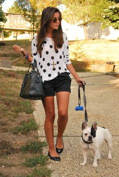 cute look, love the polka dots! (&& she gets extra points for the extra cute Frenchie!)