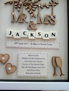 New Cricut Wedding Gifts Frame Ideas Wedding Gift Boxes, Wedding Frames, Wedding Scrabble Frame, Wedding Keepsake Boxes, Handmade Wedding Gifts, Personalized Wedding Gifts, Box Frame Art, Box Frames, Scrabble Tile Crafts