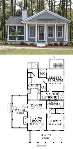 Carriage Run Cottage House Plan Design from Allison Ramsey Architects Small Farmhouse Plans, Small Cottage House Plans, Small Cottage Homes, Small House Floor Plans, Cottage Floor Plans, Lake House Plans, Craftsman Style House Plans, Tiny House Cabin, Dream House Plans