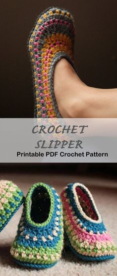 Crochet slipper pattern - A Crafty Life Looking for a cozy gift idea? Try any of these Crochet Slipper Patterns for a great gift. You can use lots of different color combos to fit anyone. Crochet Gifts, Easy Crochet, Crochet Baby, Knit Crochet, Slippers Crochet, Crotchet, Felted Slippers, Knitting Patterns, Crochet Patterns