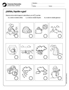 Sólido líquido o gas? Science Worksheets, Science Lessons, Science Activities, Writing Activities, Activities For Kids, Science Ideas, States Of Matter, O Gas, Online Journal