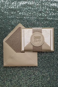 NANCY Suite Fancy Glitter Package, champagne and gold, glitter wedding invitation, sparkly wedding invitation, letterpress wedding invitation, belly band with die cut belly tag, elegant wedding invitation
