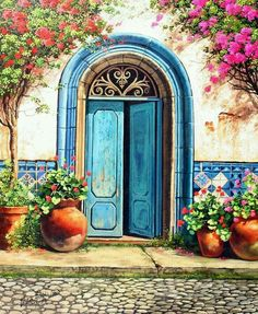 Solve Blue door jigsaw puzzle online with 154 pieces Pintura Colonial, Old Doors, Painted Doors, Painting Inspiration, Painting & Drawing, Landscape Paintings, Art Pictures, Watercolor Paintings, Art Drawings