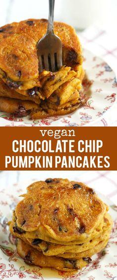 Chip Pumpkin Pancakes The BEST vegan pumpkin chocolate chip pancake recipe! Easy and SO delicious!The BEST vegan pumpkin chocolate chip pancake recipe! Easy and SO delicious! Vegan Pancake Recipes, Vegan Foods, Vegan Dishes, Vegan Desserts, Whole Food Recipes, Vegetarian Recipes, Cooking Recipes, Pancake Flavors, Pancake Dessert