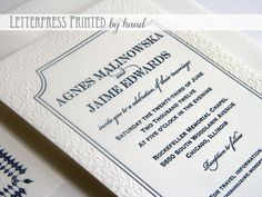 Blind and navy blue letterpress wedding invitation with classic border and ornate pattern. Printed by hand via Steel Petal Press. Gorgeous!