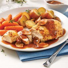 Poulet Entier aux Légumes Racines à la Mijoteuse Chicken Wings, Favorite Recipes, Food, Whole Chickens, Root Vegetables, Meal, Dish, Eten