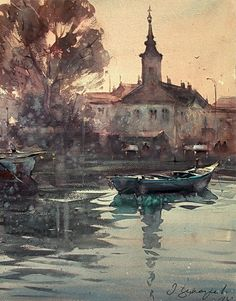 Dusand Jukaric, Morning in Danube, Zemun, Watercolor 38x49 cm