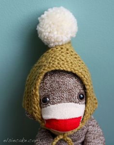 sock monkey in winter