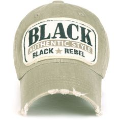 ililily Cotton Vintage Distressed 'Black Rebel' Logo Adjustable Hat... ($13) ❤ liked on Polyvore featuring accessories, hats, vintage ball caps, baseball hats, distressed ball cap, cotton baseball caps and vintage baseball hats