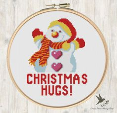Christmas Cross Stitch Pattern Snowman Christmas Hugs Needlecraft