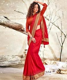 Chanderi Silk Saree Red Fabric, How To Dye Fabric, Silk Fabric, Chanderi Silk Saree, Silk Sarees, Net Saree, Saree Look, Blouse Online, Festival Wear