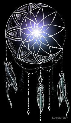 Crescent moon dream catcher by tattoo artist Robin Cass / @robinelizabethart • Buy this artwork on apparel, stickers, phone cases, and more.