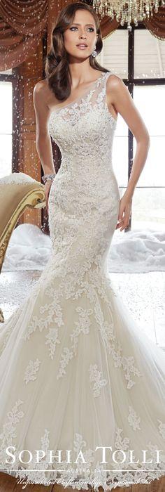 The Sophia Tolli Fall 2015 Wedding Dress Collection - Style No. Y21501 sophiatolli.com #laceweddingdress @moncheribridals