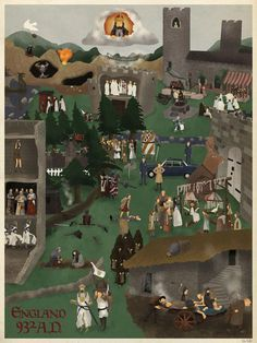 Geeky fine art: England 932 AD (time setting for Monty Python and the Holy Grail) Monty Python, Fawlty Towers, Michael Palin, Terry Gilliam, Spoke Art, Horrible Histories, Pop Culture References, Office Art, Fantastic Art