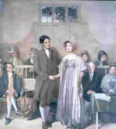 Historical: Artist's rendition of a Quaker wedding, 19th century