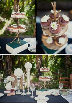 cupcake stand on top of books, great idea