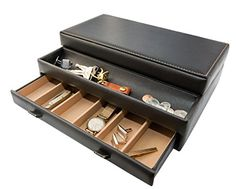 Stock Your Home Mens Dresser Top Valet Jewelry Organizer Chocolate Faux Leather 10 Compartments