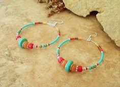 Turquoise Earrings, Southwest Hoop Earrings, Rustic Tribal, Colorful Bohemian Beaded Earrings, Handmade Bohemian Jewelry by Kaye Kraus by BohoStyleMe on Etsy
