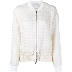 3.1 PHILLIP LIM Silk Trimmed Tweed Bomber ($885) ❤ liked on Polyvore featuring outerwear, jackets, white sport jacket, tweed bomber jacket, tweed jacket, zip front jacket en 3.1 phillip lim
