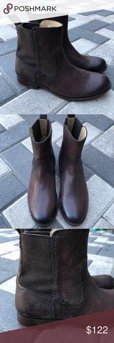 Details zu Clarks Trace Fall Womens UK 8 D Dark Tan Brown Leather Chelsea Ankle Boots