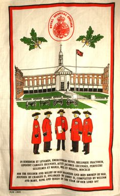 Royal Hospital Chelsea Tea Towel - Vintage Irish Linen Chelsea Pensioners Souvenir British Army - New Old Stock