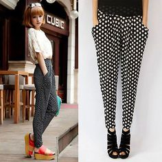 New Stylish Women Girl Colorful Dot Pocket Harem Pants Hip-hop Leisure Trousers in Clothing, Shoes & Accessories | eBay
