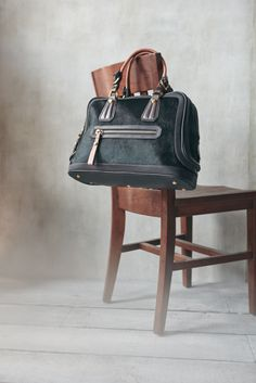 Leather & hair calf satchel