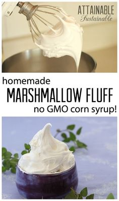 Store bought fluff features corn syrup - likely GMO - as its number one ingredient. This marshmallow fluff recipe solves that problem, and it's easy to make!
