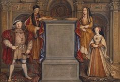 """Remigius van Leemput's 1667 copy of Hans Holbein's """"Whitehall mural,"""" showing Henry VIII with Jane Seymour and his parents, Henry VII and Elizabeth of York, which was destroyed in a fire in 1698. How to Play 'Wolf Hall' by Hilary Mantel 