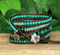 Stone and Leather Beaded Five Wrap Bracelet, Azurite Chrysocolla and Howlite Turquoise Wrap, Gemstone and Crystal Artisan Jewelry, Boho Wrap