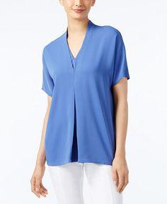 Alfani Short-Sleeve V-Neck Blouse, Only at Macy's