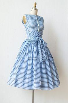 Sea Glass dress | vintage 1950s dress | cotton 50s dress | Day ...
