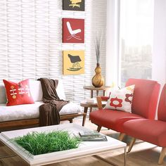 Love these three-dimensional wall tiles and can imagine many applications. Other patterns, too!