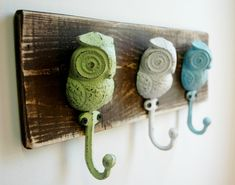 Owl Hooks Wall Decor Summer Spring Home Decor by SplintersAndNails, $32.50