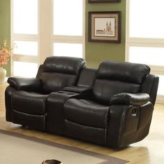 Weston Home Darrin Leather Reclining Loveseat with Console - Black - 9724BLK-2