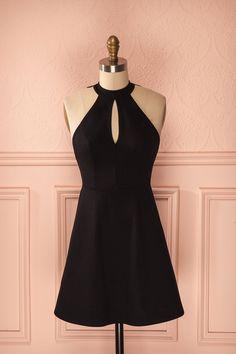 Robe trapèze noire dos dentelle licou découpe buste - Black lace back halter dress bust cut-out