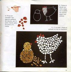 Mozaiekcollage met eierschaal