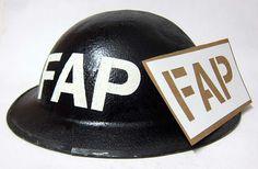 British WW2 FAP Helmet Stencil.    http://www.warhats.com/ww2-british-stencils.html   www.warhats.com
