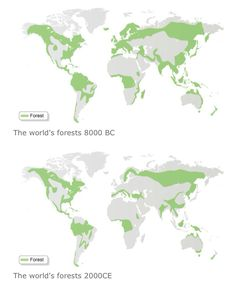 Change in distribution of World's forests.