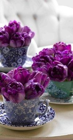 27a741e32a90f Violet purple tulips in tea cups for an elegant brunch or event floral  arrangement