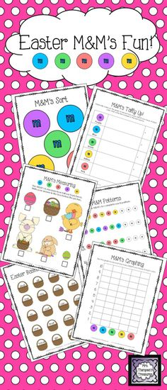 Easter M&M Candy Fun Activity Pack - Students love using food to practice skills! This pack gives you some great activities and ideas using Easter M&M's (also known as Bunny Mix). These are great to use during Easter or anytime during the spring!    Includes:  Estimation Class Activity, Sorting Mat, Tally Chart, Graphing & Questions, Pattern Practice, Measuring,  Sight Words Activity, Art Idea $