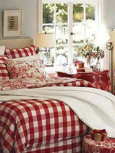 34 Perfect Decorating Christmas Bedroom Red And White - firstmine Red Bedroom Design, White Bedroom, Bedroom Decor, Interior Design, Bedroom Linens, Modern Interior, Plaid Bedroom, Comfy Bedroom, Extra Bedroom
