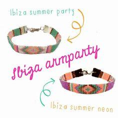 Ibiza style kralen armband! Teken op ruitjespapier een patroon, kies kraaltjes van dezelfde maat. Neem een weefraam, span dun nylondraad en weef de kralen daartussen!