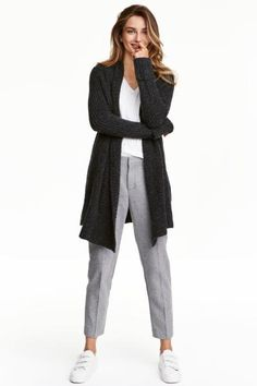 Shawl-collar cardigan: Cardigan in a soft rib knit containing some alpaca wool with a shawl collar, long sleeves with sewn-in turn-ups and no buttons.