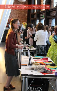 We had such a great time educating (and playing) at the Contemporary Jewish Museum's Night at the Jewseum event on 6/5/14. Geana Sieburger, teacher of Warp x Weft textile workshops, had a blast running the Textile Station.